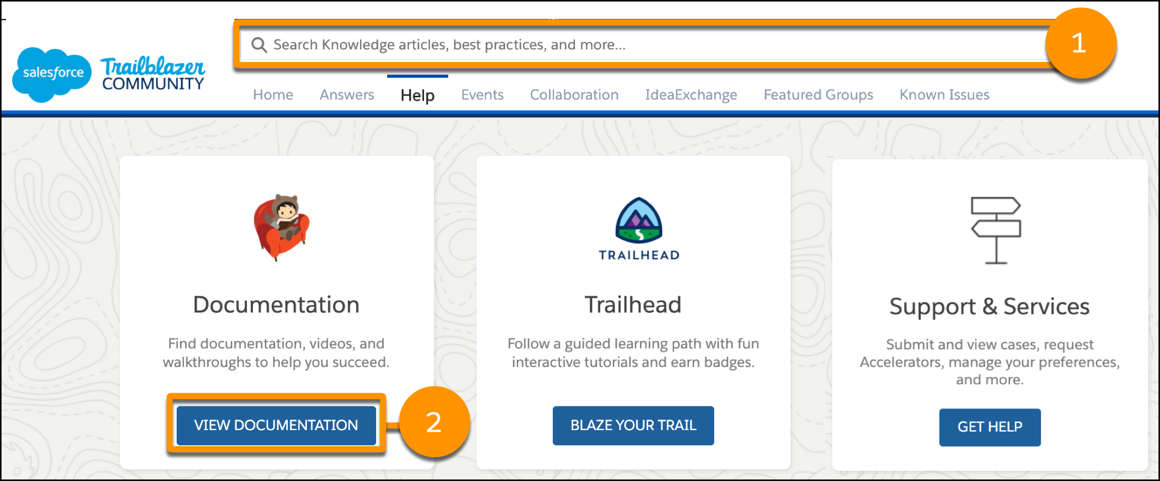 Salesforce Help home page search and the documentation tile identified.