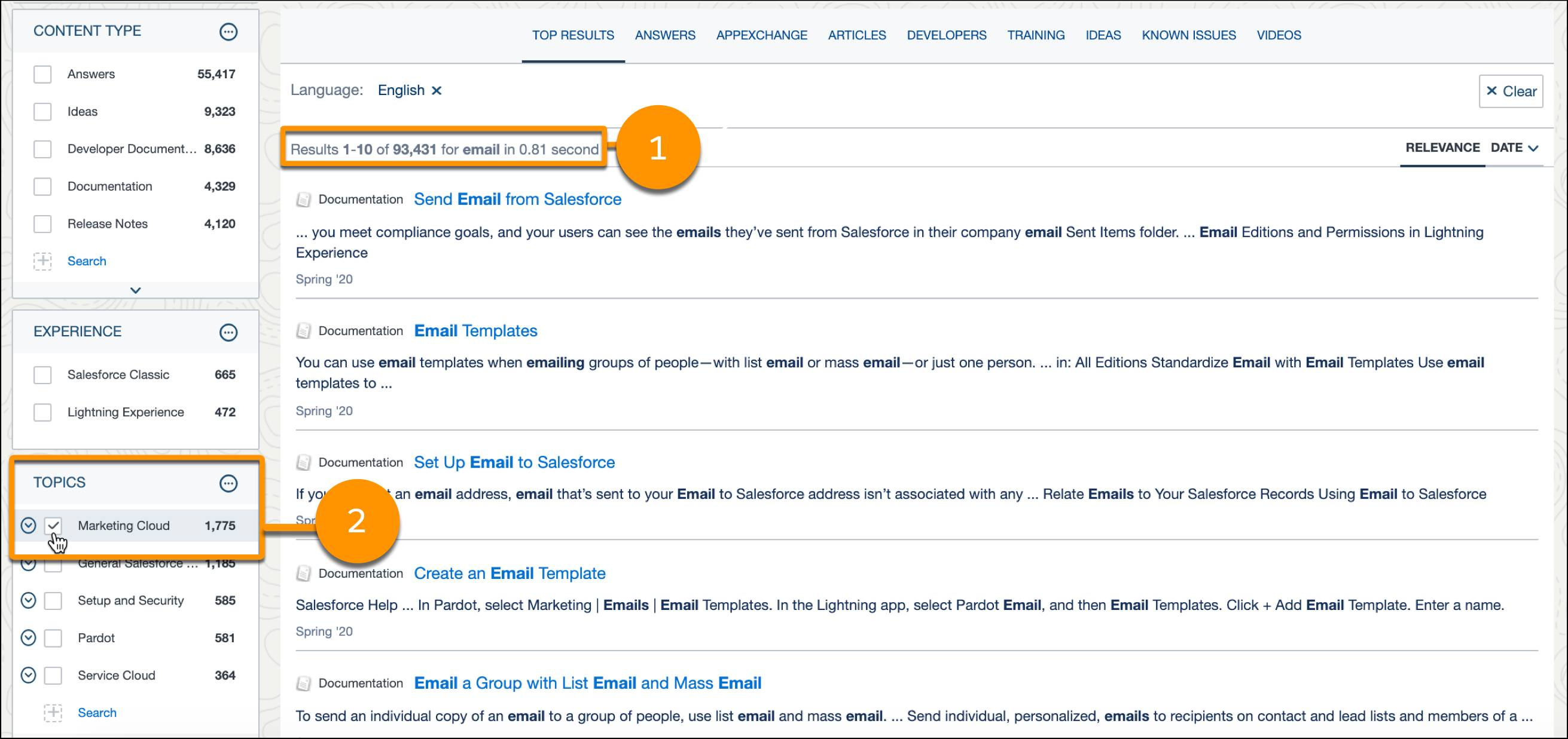 """Salesforce Help search results for """"email"""" with the topics filter highlighted to select Marketing Cloud."""