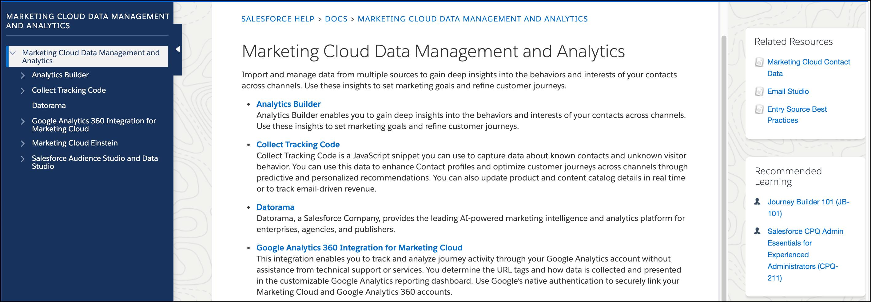 Marketing Cloud Data Management and Analytics help page.