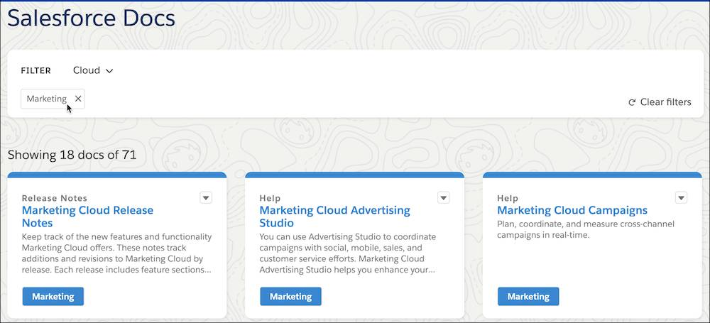 Salesforce Docs screen with Marketing Cloud filter added.