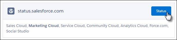 Un ratón haciendo clic en el botón Estado en la sección status.salesforce.com de la página.