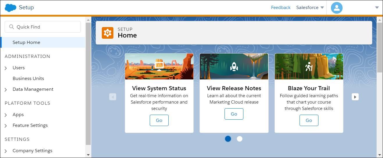 Interface de l'accueil de la configuration dans MarketingCloud.