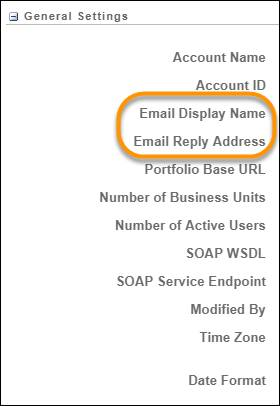[アカウント設定] ページで、[一般設定] セクションの [メールの表示名] フィールドと [メール返信アドレス] フィールドが丸で囲まれています。