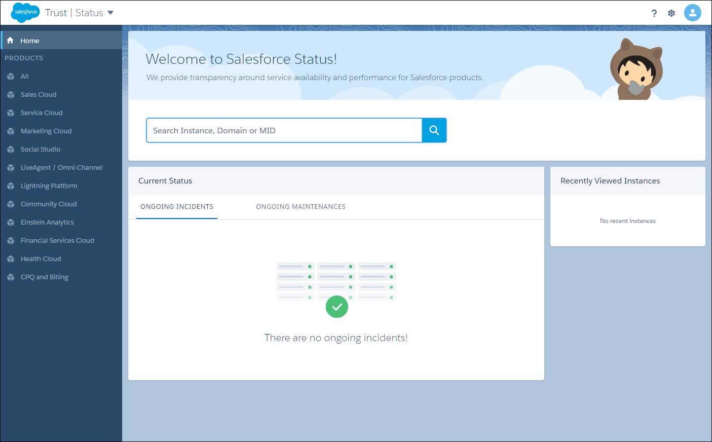 Salesforce Trust サイトの [ステータス] ページ。