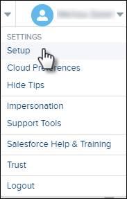 Marketing Cloud 設定メニューで [セットアップ] にマウスポインターが置かれています。