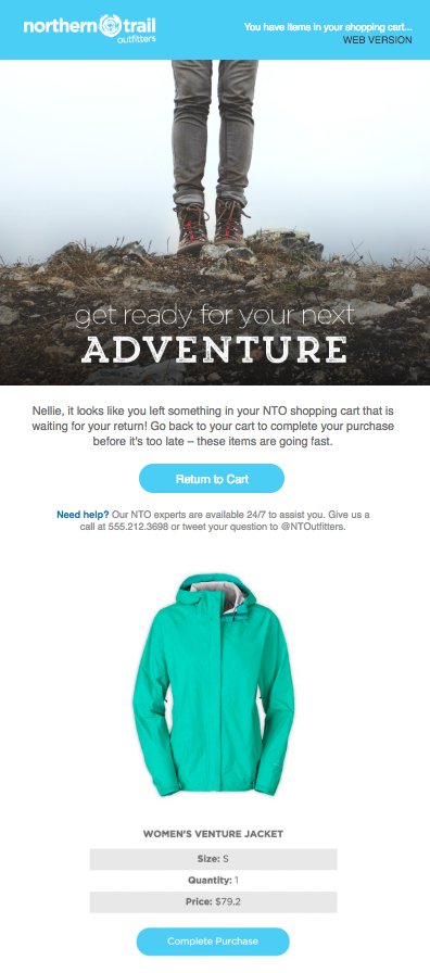 Email with a clear call to action to complete a purchase