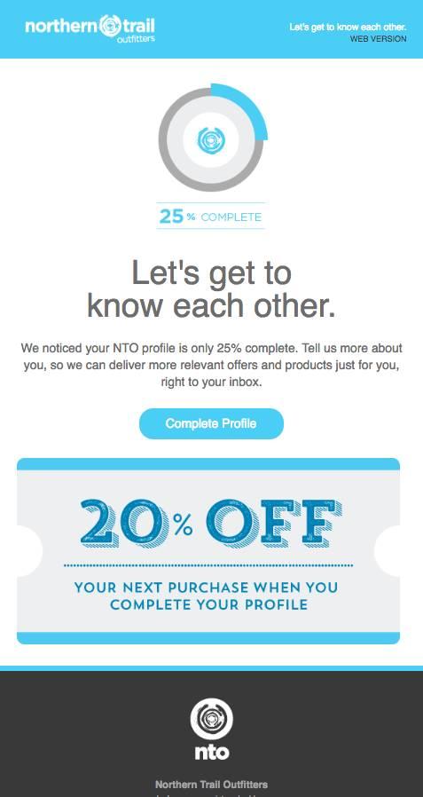 E-mail avec un contenu ludique et attrayant pour inciter le client à terminer de remplir son profil