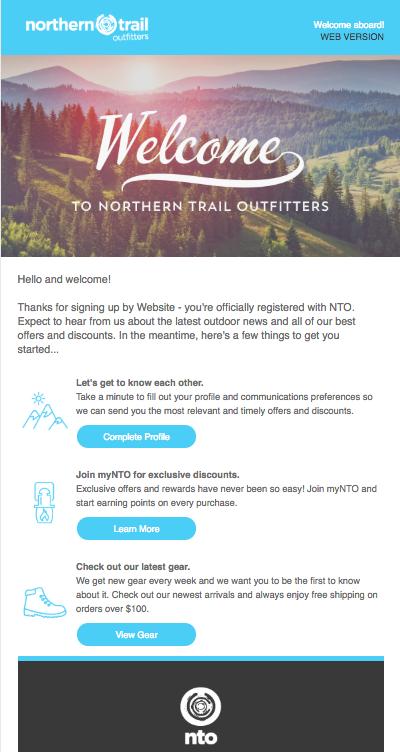 購読者に詳細の入力を呼びかけ、インセンティブを提示している Welcome メール