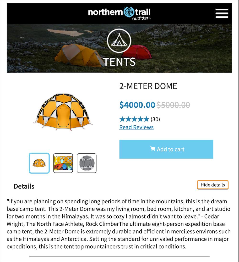 Exemple d'e-mail comportant une galerie interactive et où les détails du produit sont affichés.