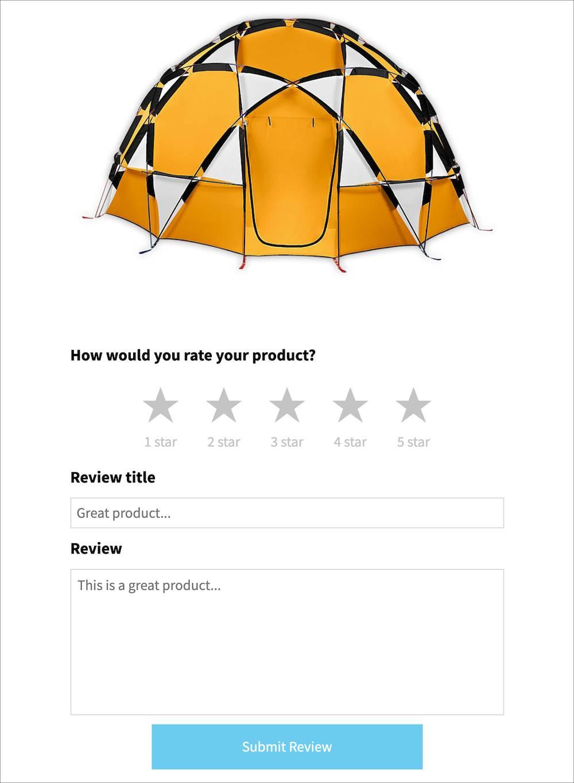 Exemple de formulaire d'évaluation incorporé interactif