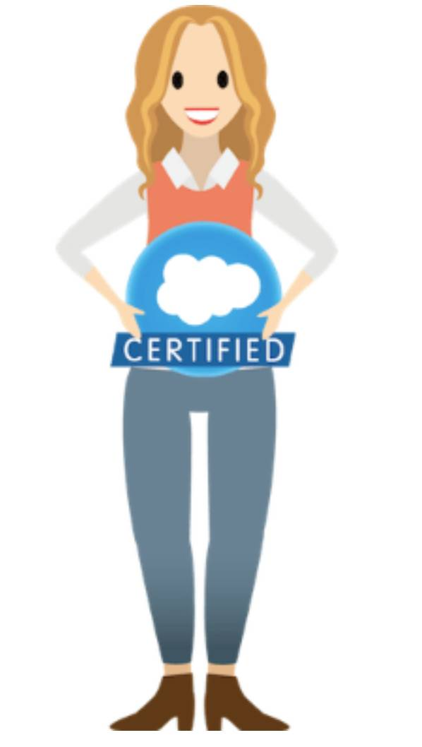 A woman holding a Salesforce certified badge.