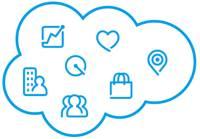 Salesforce icons. From top-left: Sales Cloud, Quip, Service Cloud, Marketing Cloud, Commerce Cloud, Community Cloud, and Industries.