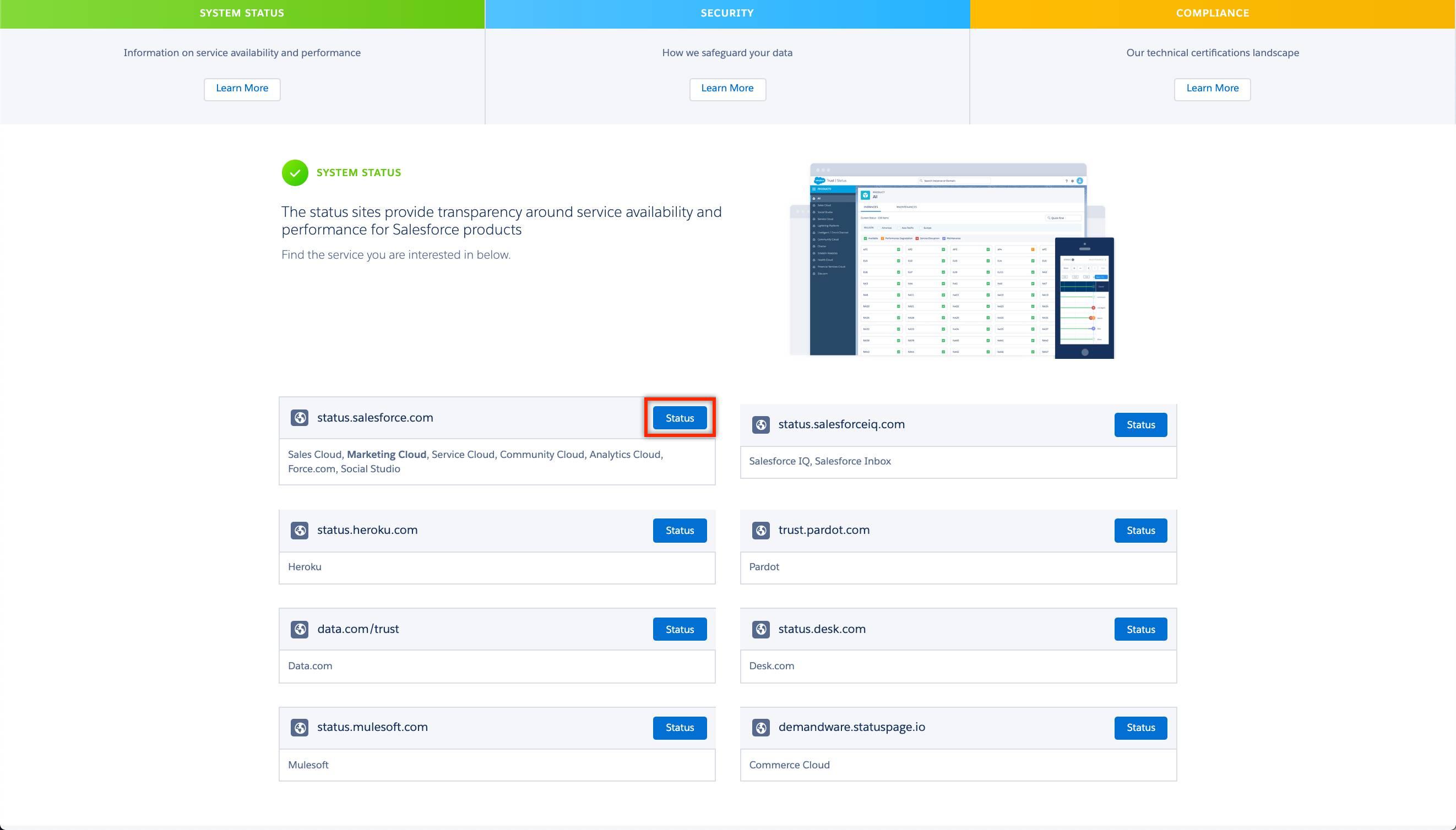 status.salesforce.com が強調表示されている Salesforce Trust サイトの [システム状況] セクション。
