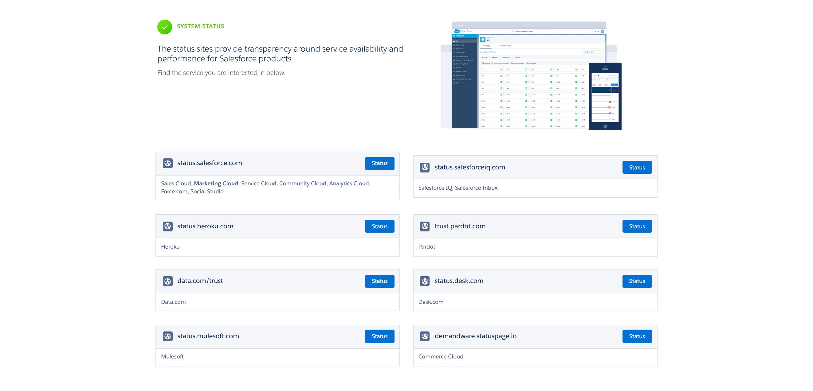 The System Status section of the Salesforce Trust site.