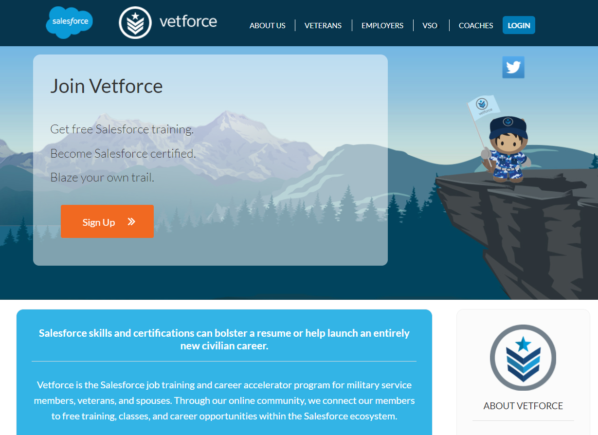 Veterans.force.com website for free Salesforce training