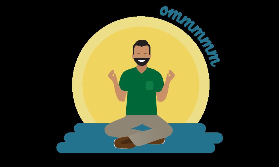 Abbildung einer meditierenden Person, die den Ton Ommmmmmm erzeugt.