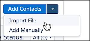 Import file being selected under add contacts.