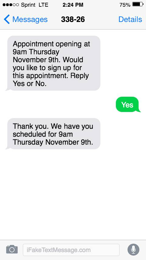 An SMS message asking the customer to reply Yes or No to sign up for an available 9:00 AM appointment time. The customer replies Yes and the brand responds with a thank-you SMS message.