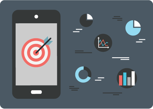 A smartphone with a bulls eye surrounded by graphs