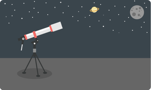 A telescope pointed toward the horizon