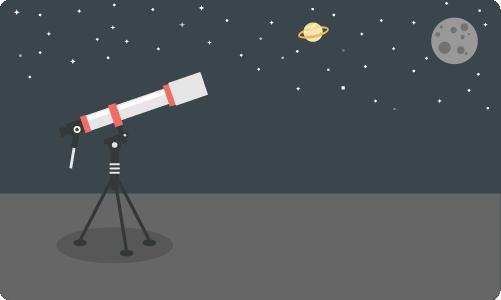 地平に向けられた望遠鏡