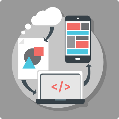 An illustration of the mobile design and development process