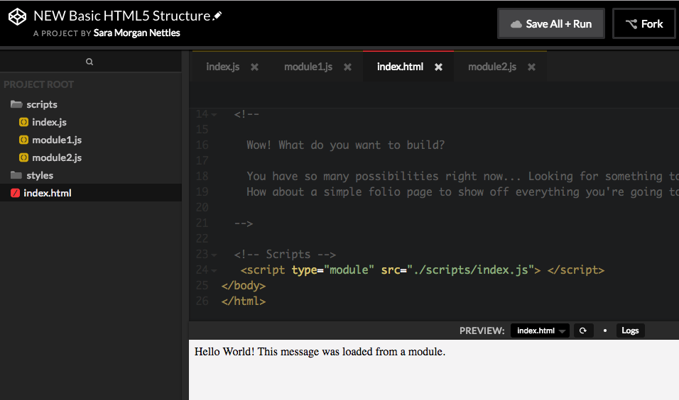 CodePen editor showing a new project that was used to load modules and display a message.