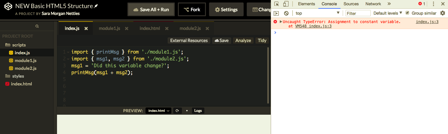 CodePen editor showing an error in the console when the code is changed to reassign an imported variable.