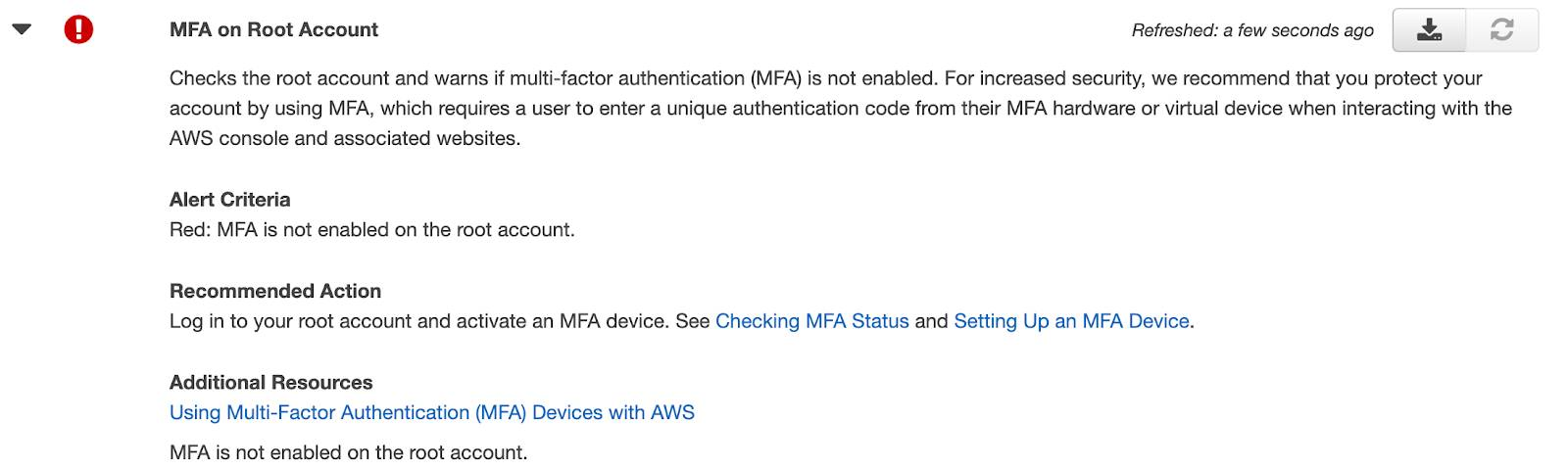 MFA on Root Account action that shows a recommended action to take; also showing Alert Criteria and Additional Resources.