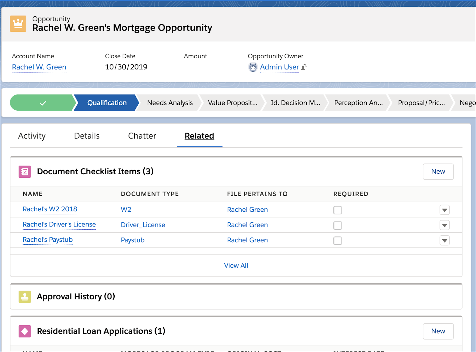 Document checklist items for Richard Bennet within Financial Services Cloud.