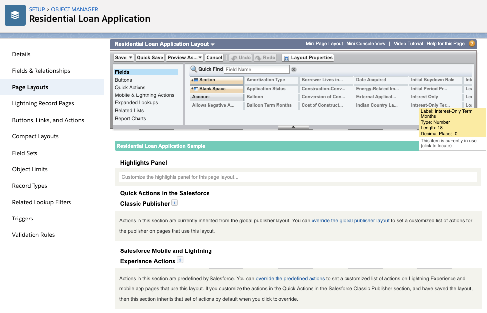 The Residential Loan Application layout page.