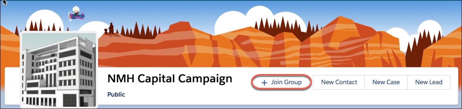 [グループに参加] ボタンが強調表示されたグループの詳細ページ
