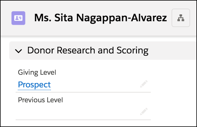 Datensatzdetails des Kontakts mit Feld 'Giving Level'