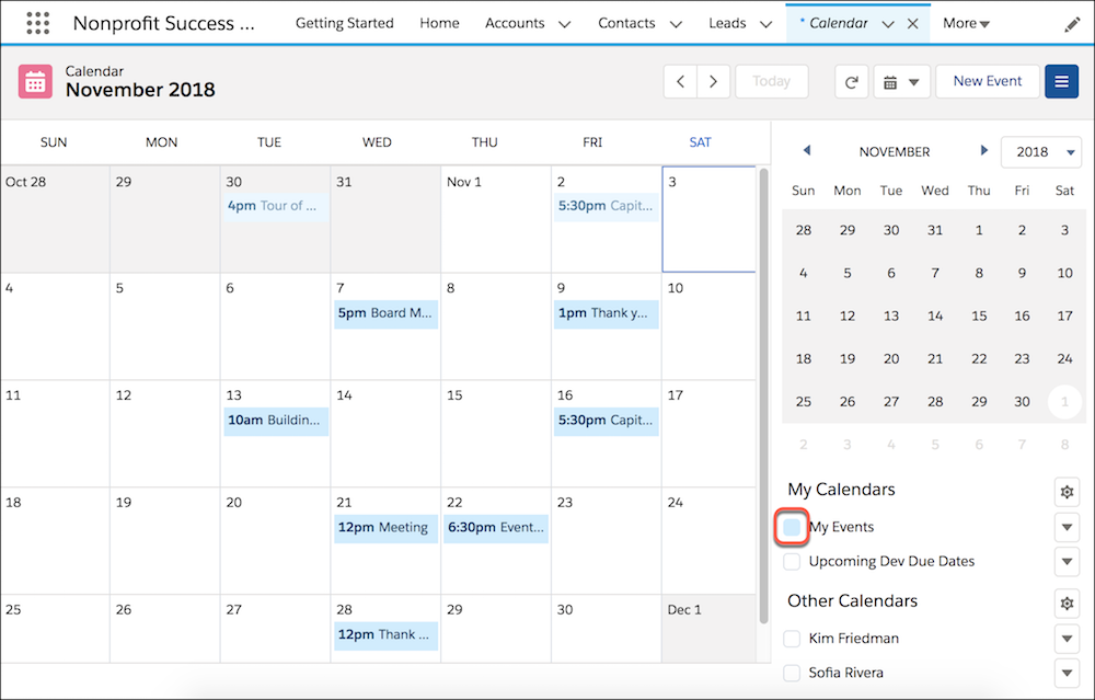 Calendar view, showing only My Events