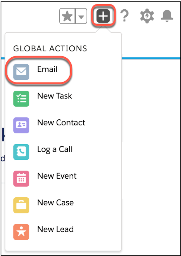 Global Action Menu, highlighting Email