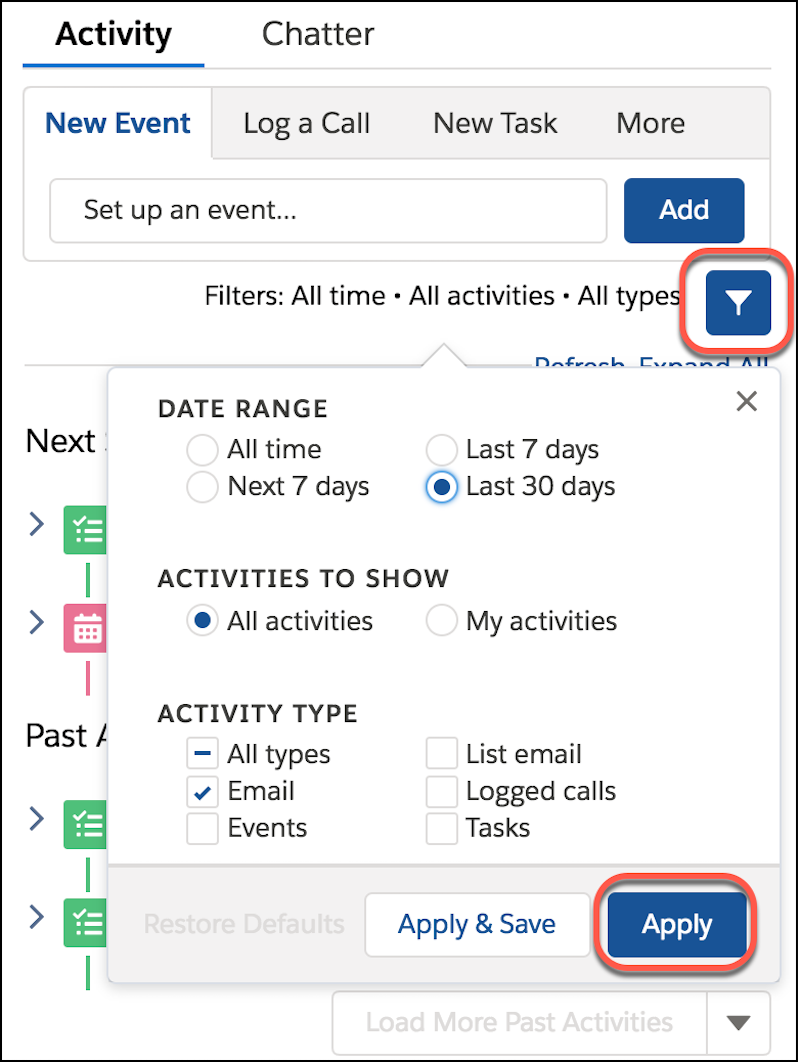 Activity Timeline detail, showing filter options
