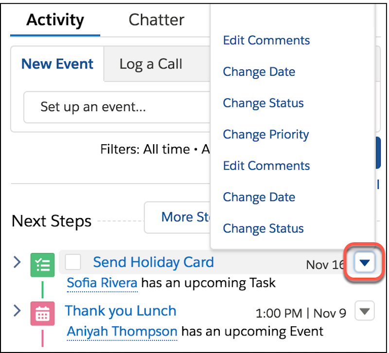 Activity Timeline detail, showing the quick actions menu