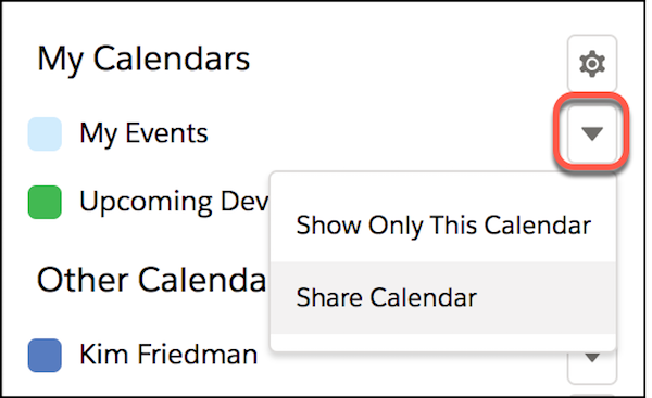 My Calendar detail highlighting the Share Calendar menu item