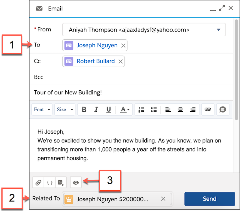 Email compose detail