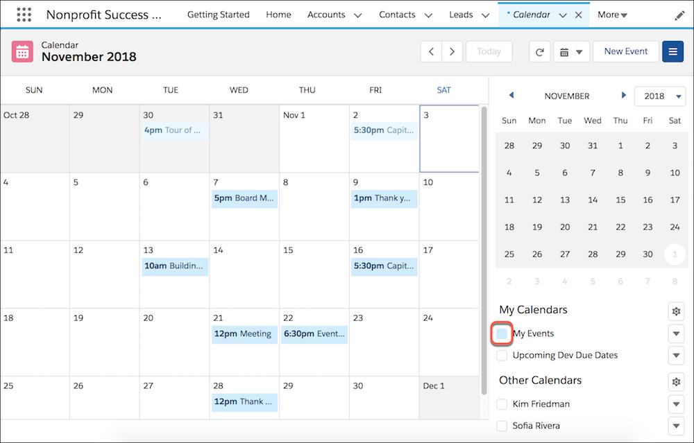 Vue du calendrier, affichant uniquement Mes événements