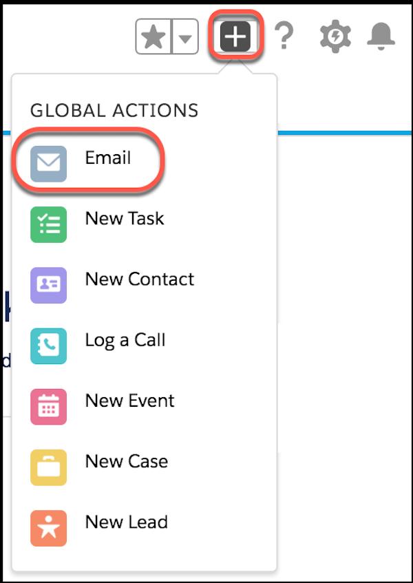 Menu Action globale, avec E-mail en surbrillance