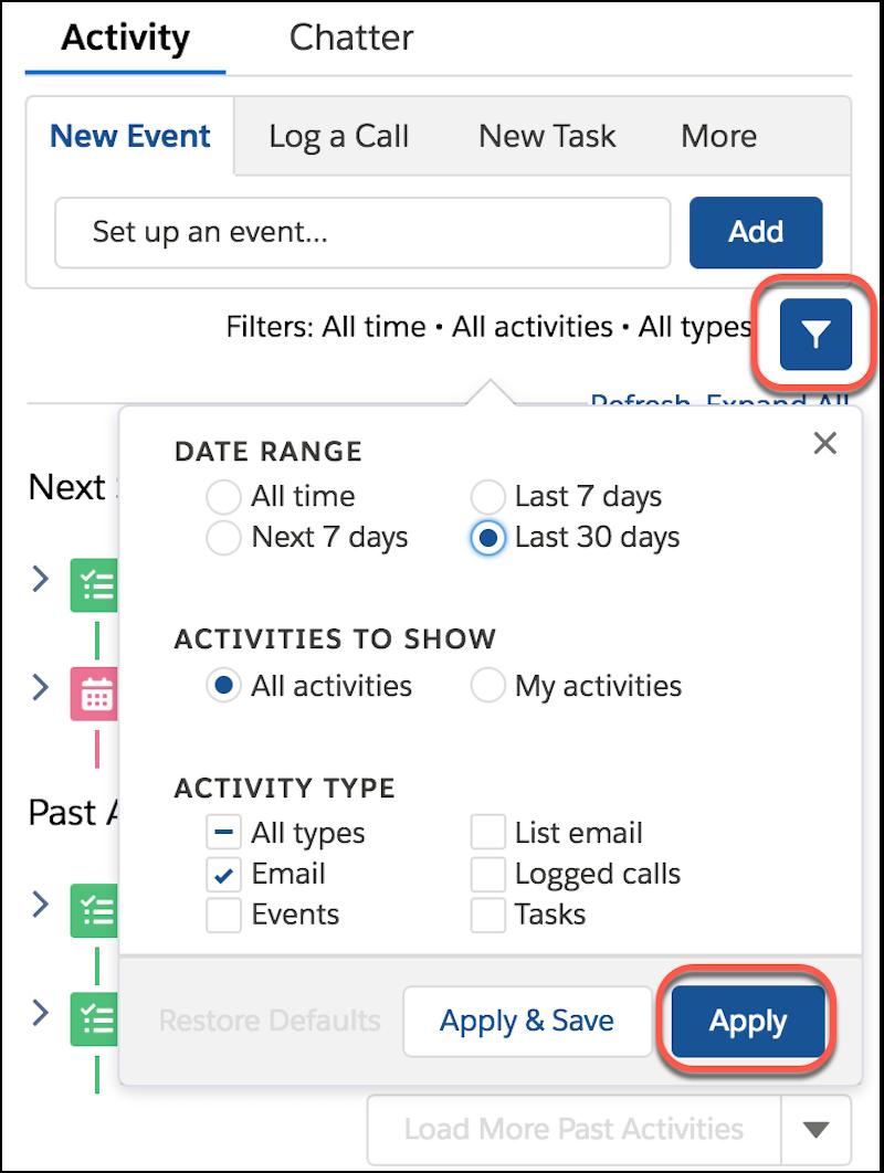 Détail de la chronologie des activités, affichant les options de filtrage