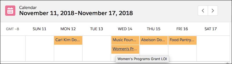 Vue par semaine du calendrier avec dates d'échéance des opportunités