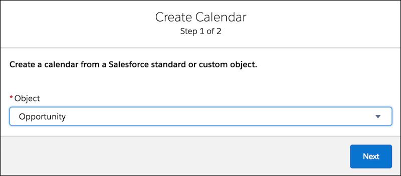 Formulaire Créer un calendrier avec l'objet Opportunité sélectionné