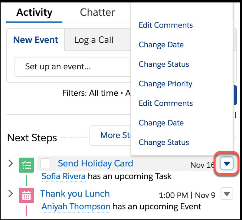 Détail de la chronologie des activités, affichant le menu d'actions rapides