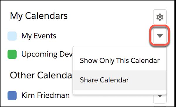 Détail de Mon calendrier avec en surbrillance l'élément de menu Partager le calendrier