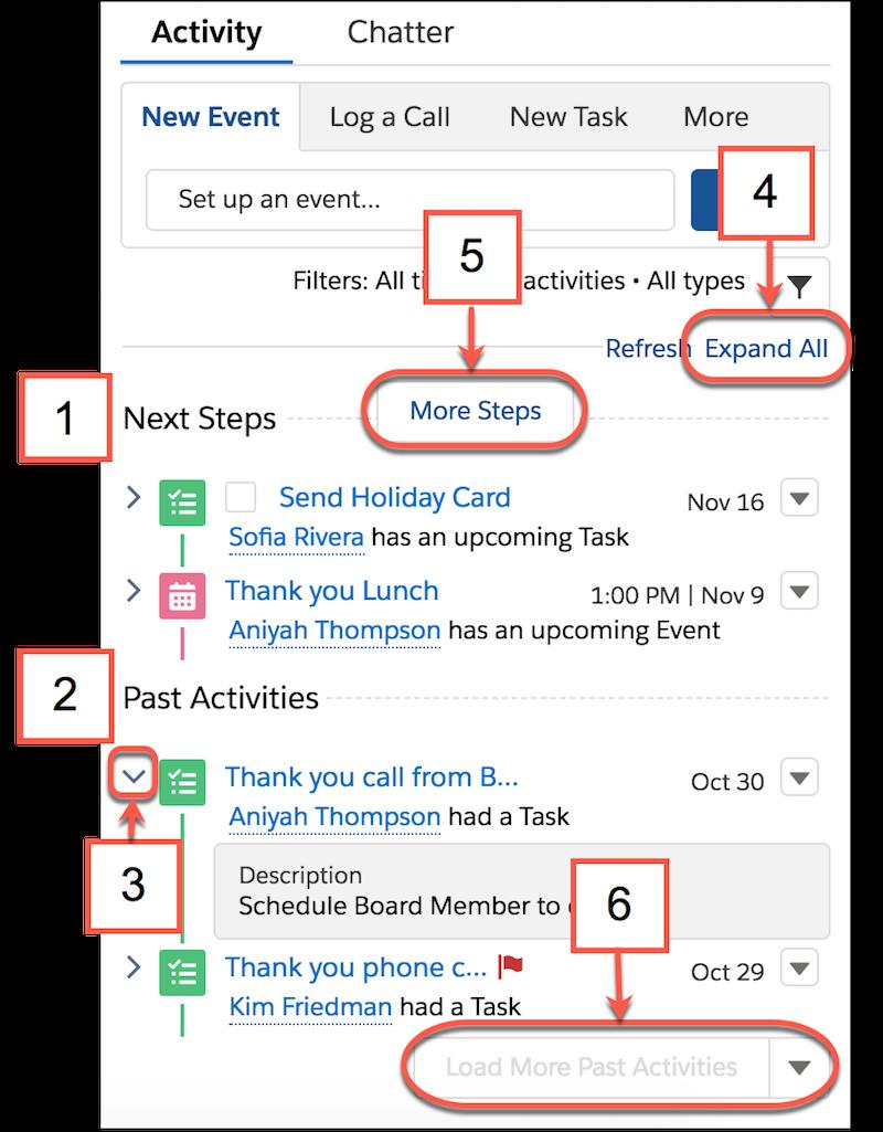 [次のステップ]、[過去の活動]、[すべて展開]、[ステップをさらに表示] が表示された活動タイムラインの詳細。