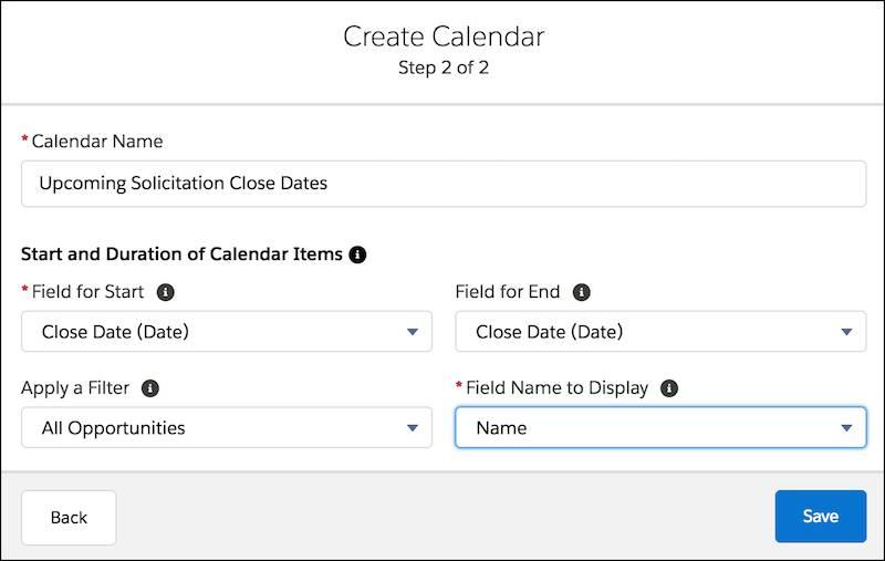 新しいカレンダーの作成フォーム