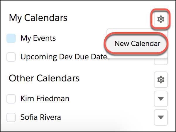 [新しいカレンダー] ボタンが強調表示された [私のカレンダー] の詳細。