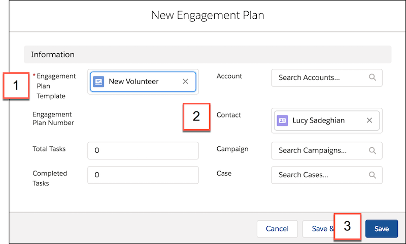 Detail of New Engagement Plan form, including lookup field and list of suggested Engagement Plan Templates